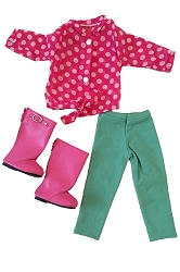 Pink Polka Dot Tie Shirt, Light Green Strech Pants, Pink HIgh Boots