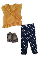 Blue & White Polka Dot Jeggings, Yellow Ruffled Shirt, Grey Flats