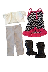 Black and White Chevron Shirt with Pink Ruffles, Cream Half Jacket, Tan Pants, Black Boots with Buckles