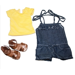 Yellow Shirt, Blue Romper, Gold Sandals (COPY)