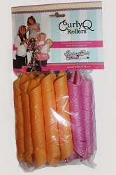 Curly Q Rollers - Long & Narrow 18 rollers with quality hook.  (RECOMMENDED FOR DOLLS. Can also be used for girls with shoulder length hair and shorter)