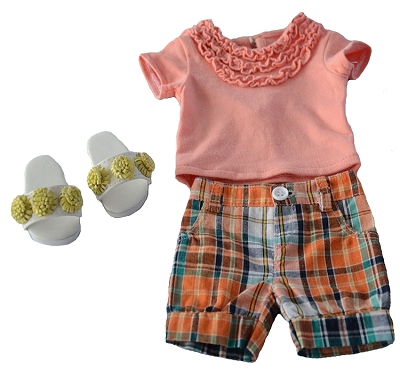 Plaid Shorts, Light Orange Ruffled Shirt, Yellow Flower Puff Sandals