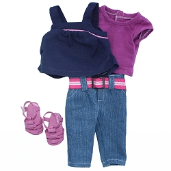 Blue Tank, Magenta Shirt, Denim Capris, Magenta Sandals