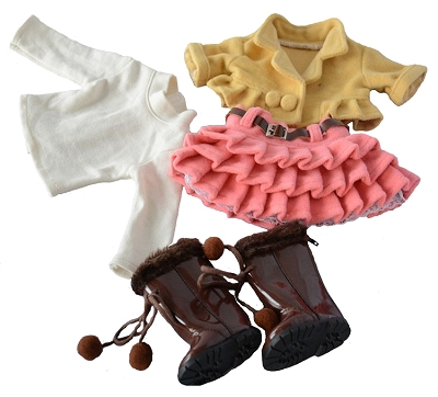 Pink Ruffled Skirt, White Turtleneck, Yellow Jacket, Brown Pompom Boots