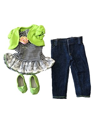 Blue and White Striped Shirt with Green Flower Green half Jacet, Blue Denim Pants with Green stitching, Green Shoes