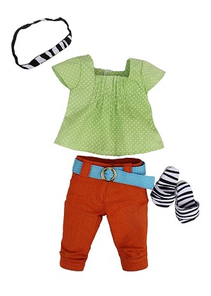 Light Green and White Polka Dot Shirt, Orange Capris, Zebra Head Band, Zebra Sandals