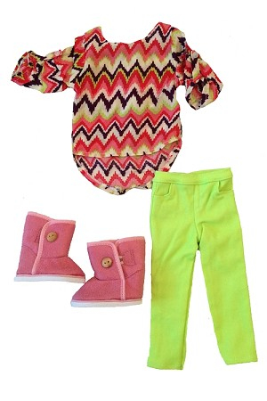 Lime Green Pants, Bright Shorter Front Longer back Shirt, Pink Boots