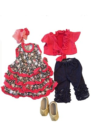 Frilly Dress with Golden Shoes