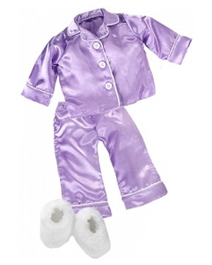 Silky Lavender PJs, White Fluffy Slippers