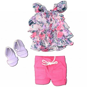 Bright Flowered Ruffle Top, Pink Sorts, Lavender Sandals