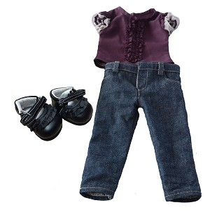 Blue Skinny Jeans, Purple Ruffled Shirt, Black Ruffled Shoes